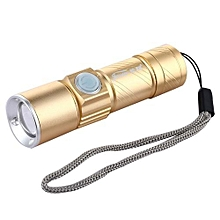 USB Rechargeable Zooming 3 Modes Mini Torch - Platinum