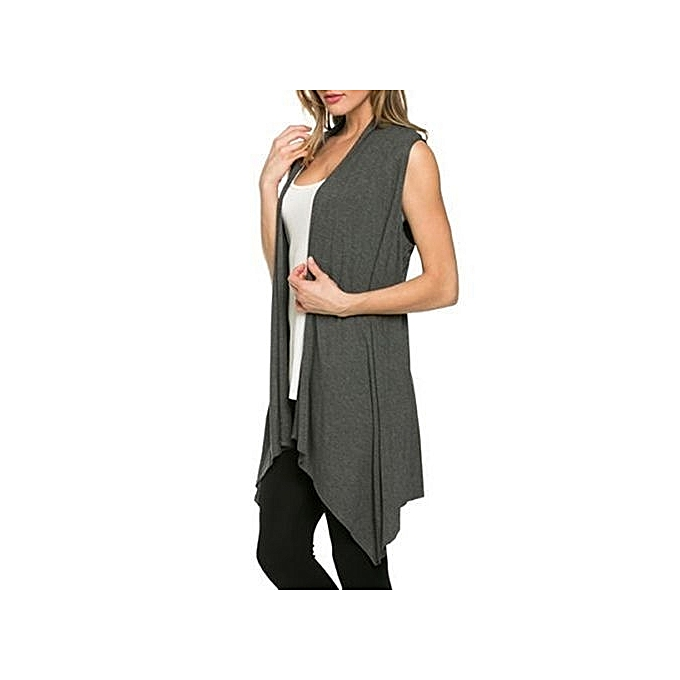 f89035d61f937 Women s Summer Casual Sleeveless Long Knitted Cardigans Irregular Tops  Coat-Grey