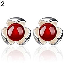 Flower 925 Sterling Silver Ear Studs Rhinestone Ball Earrings Wedding Jewelry (Red)
