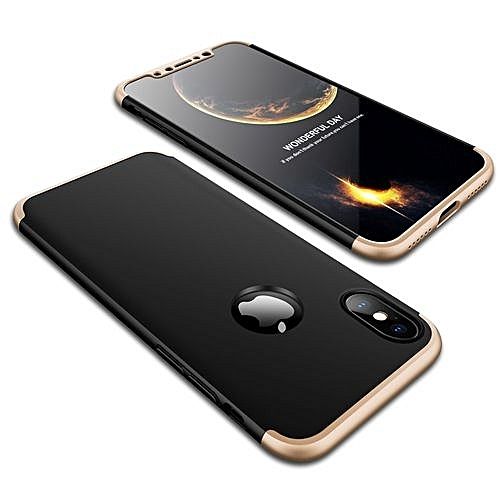 wholesale dealer 21526 989ef IPhone X 3 In 1 Hard PC Case - Black With Gold