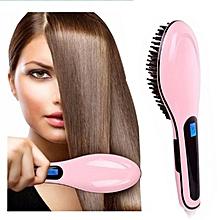 Fast Electric Straightener Brush Ceramic Hair Straightening Comb Flat Iron Lcd Straight