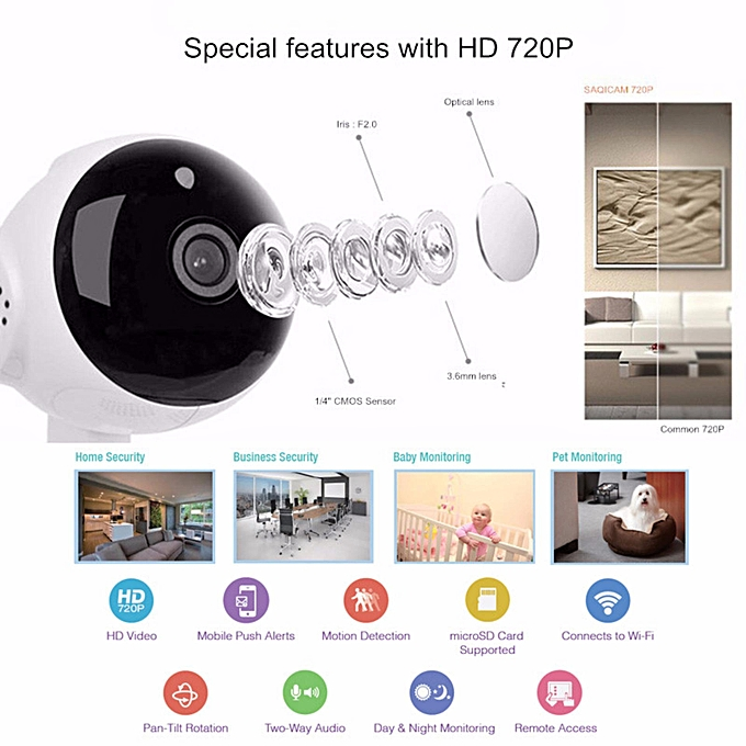 V380 HD 720P 1 0MP 360 Degree Rotatable AP Hotspot Connection IP Camera  Wireless WiFi Smart Security Camera, Support Monitor Detection & IR Night
