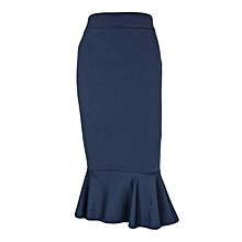 Navy The Roberta - Midi Skirt With Frill Hem