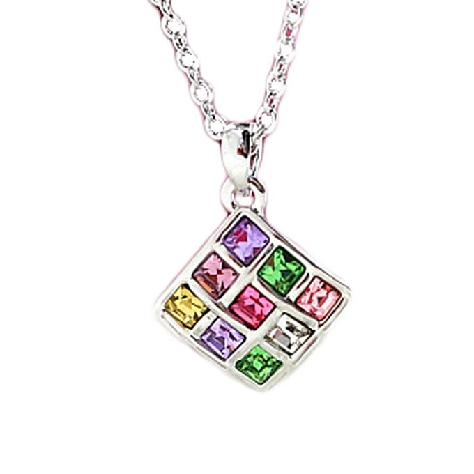 Hot 925 Sterling Silver Chain Necklace Glaring Multicolor Cube High Grade Austria Crystal