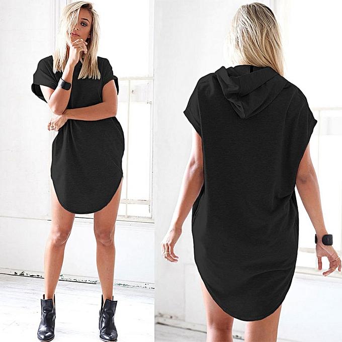 36a5dd224605 Hiamok Women Lady Summer Short Sleeveless Hooded Soild Mini Dress Princess  Dress