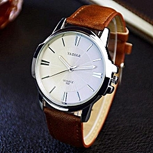Men Luxury Stainless Steel Quartz Military Sport Leather Band Dial Wrist Watch Brown