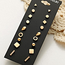 9 Pair Setsorted Multiple Stud Earings Jewelry Set With Card For Women And Girls(Gold)