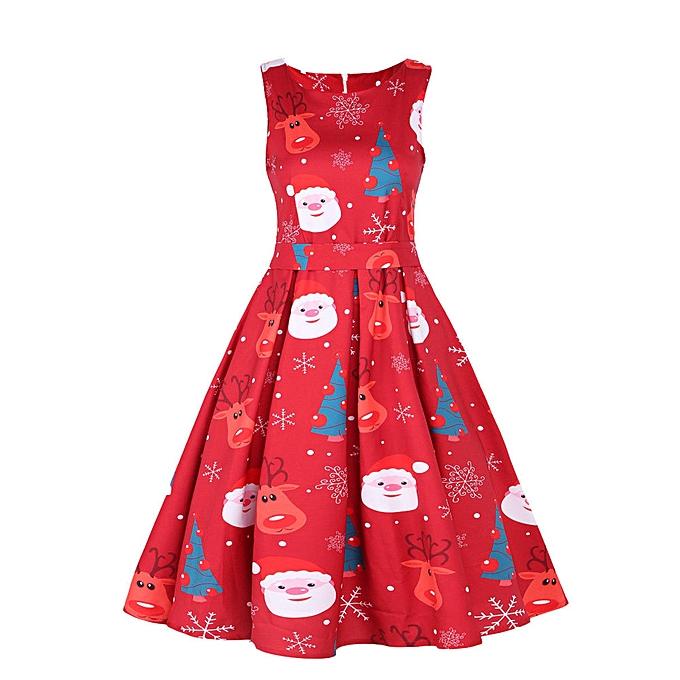 Womens Vintage Santa Christmas 1950s Retro Xmas Evening Prom Swing Dress