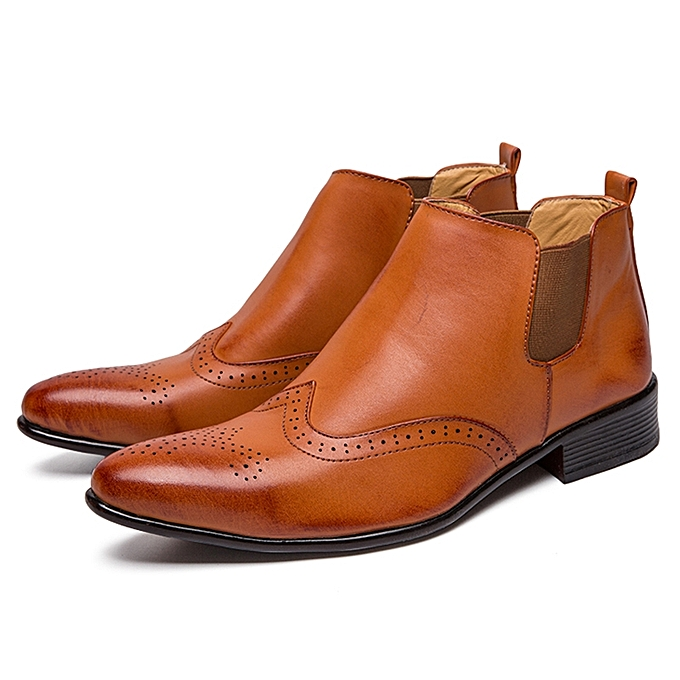 f797aa0c381f0 EUR Size 38-45 Luxury Boots Men Chelsea Boot Italian Brogue Carved Leather Boots  Mens