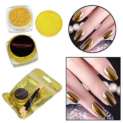 Women Mirror Powder Effect Chrome Nails Pigment Gel Polish DIY