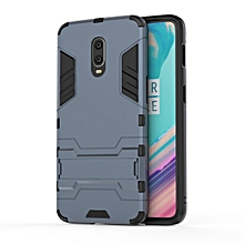 Shockproof PC + TPU  Case for OnePlus 6T, with Holder(Navy Blue)