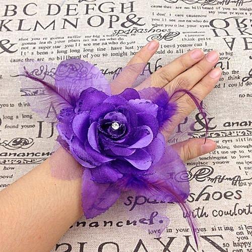 2b0c74e01f Wrist Corsage Bridesmaid Sisters Hand Flowers Artificial Bride Flowers For  Wedding Party Decoration Bridal Prom 1Pcs Wholesale Deep Purple