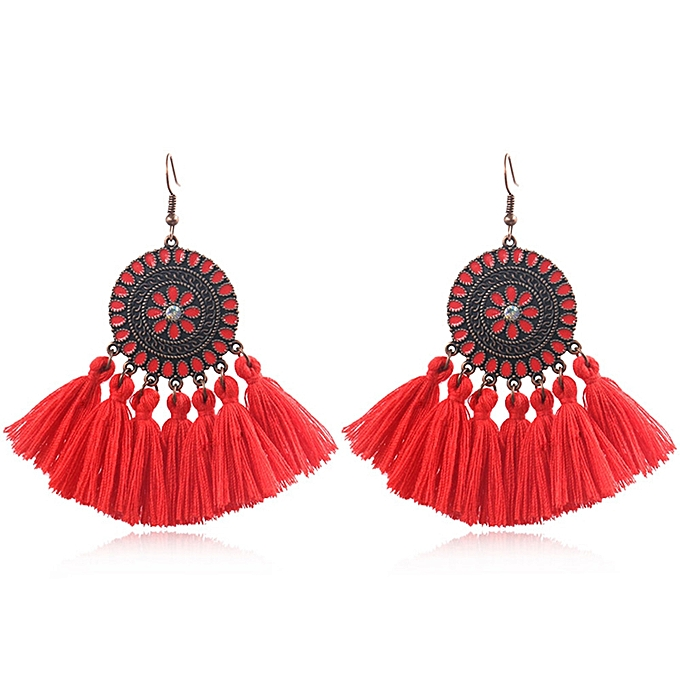 8eddf885f8a4ab Ethnic Long Tassel Women'S Earrings Bohemia Colorful Oil Painting Flower  Earring