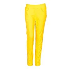 Girls Yellow Fitting Cotton Stretch Pants