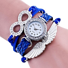 New Fashion Wing Wrap Around Bracelet Watch Synthetic Leather Chain Watch - Blue