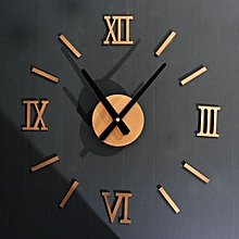 Roman Numerals DIY Wall Clock Home Wall Stickers Decoration Art Clock GD-Gold