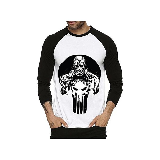 bc772005 Mens Personality T Shirt Cotton Skull Punisher Full Sleeve Raglan T Shirt  Men's Funny T-