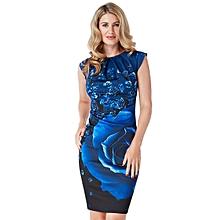 Blue Pleated Neck Midi Dress