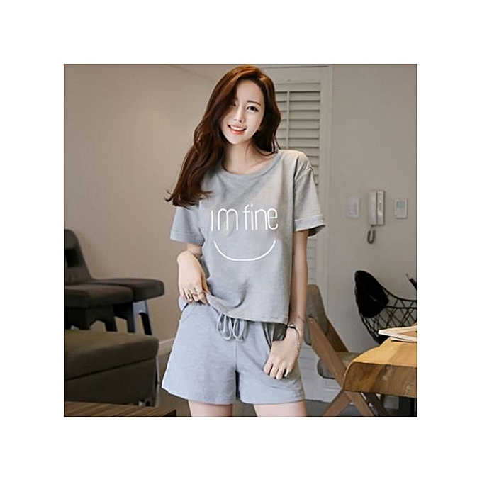 09de1e408b0ac1 Women Plus Size Cotton Lounge T-Shirts Tops And Shorts Sleepwear Set (M-
