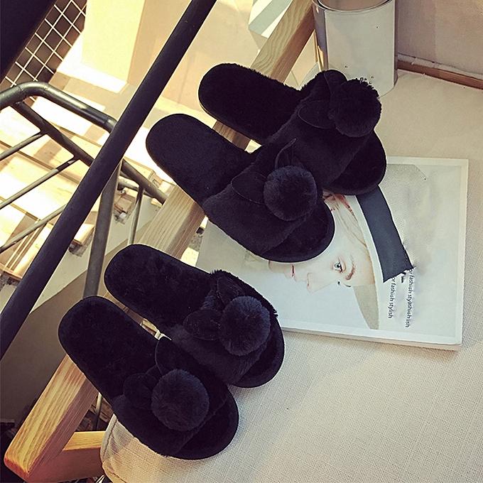 f1689bdf Womens Ladies Slip On Sliders Fluffy Faux Fur Flat Slipper Flip Flop Sandal -Black-