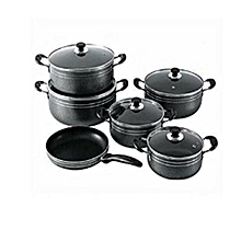 Non Stick Cooking Pots 11 pieces - Black and Silver
