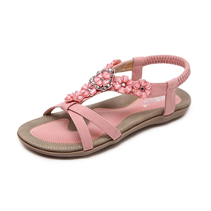 81651d996322 Great super large size 43-45 woman sandals summer sweet bohemian beach flower  flat shoes