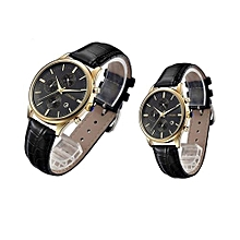 [2 Pack] 80061 Couple Watches Man & Woman Fashion Brand Luxury Quartz Watch Leather Strap Wristwatches Sports Date Calendar Watches - Multicolor