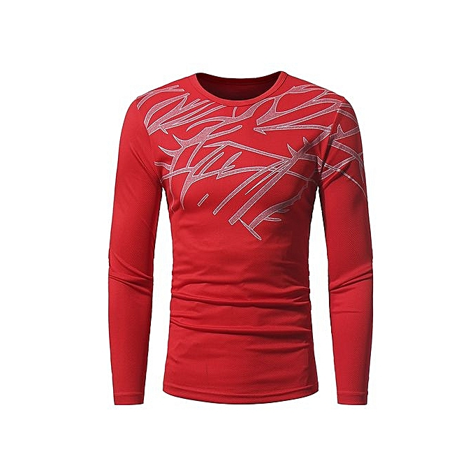 86d5aa320 Generic Grace Men's Leisure T-shirt Printing Long Sleeved Round Neck T- shirts Geometric Graphic Printing
