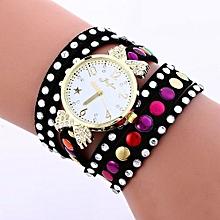 Lady  Leather Wrist Watch Fulaida Fashion Colored Diamonds Leather Bracelet Weaving Lady Womans Wrist Watch BK-Black