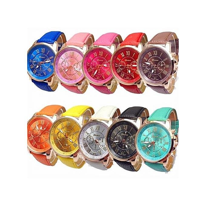 d797c64c5137 Casual LU 10pc Geneva Women s Wholesale Roman Numerals Faux Leather Analog  Quartz Watch Multi