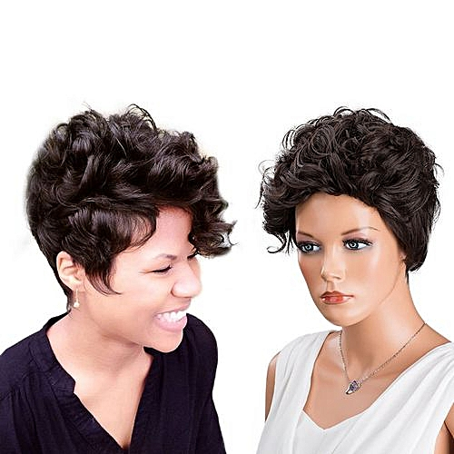 Generic Women Short Brown Front Curly Hairstyle Synthetic Hair Wigs For  Black Women   Best Price  b6fbbe8609