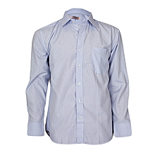 Light Blue Checked Long Sleeved Formal Shirt - Big Fitting