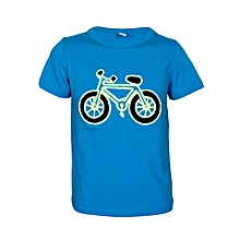 Blue  Shirt With A Bicycle Picture At The Center