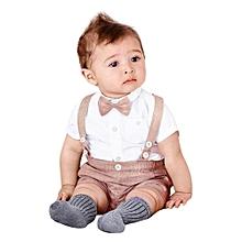 4e19d93675d2 Kids Boys Clothes Sets Gentleman Outfits Suits Short Shirts + Suspenders  Pants