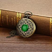 Vogue Vintage Bronze Zodiac Pendant Pocket Quartz Pocket Watch Necklace