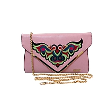 Embroidered Contemporary Clutch - Light Pink
