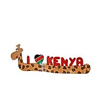 I Love Kenya' Giraffe Puzzle - Multicolor