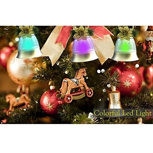 Skywolfeye LED Christmas Decorations Bell Small Holiday Lights Christmas Tree Lights- Silver