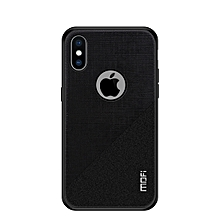 MOFI Shockproof TPU + PC + Cloth Pasted Case for iPhone XS(Black)