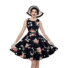 Woman Floral Ethnic Print Dress - Navy