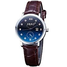 SBAO Fashionable Ultra-thin Trends Calendar High-grade Business Belt Watch    - Black