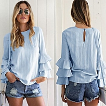 Fashion Hollow Out Blouses Thin Long Fold Sleeve Women Blouse Tops Shirts Light Blue