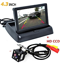 Refined 1 Set 4.3 Inch TFT LCD Foldable Mini Car Monitor with Rear View Backup Camera for Vehicle Reversing Parking System