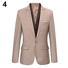 Men's Slim Formal Business Suit Coat One Button Lapel Long Sleeve Pockets Top-Khaki