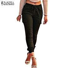 ZANZEA Pants For Women Autumn Sexy Bodycon Leggings Skinny Pants Casual Elastic Waist Slim Oversized Trousers Black