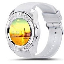 V8 Touch Screen Sports Round Screen Smart Phone Watch - White