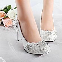 NEW Women White Floral Stilettos Rhinestone Wedding Shoes Bridal High Heels Gift White