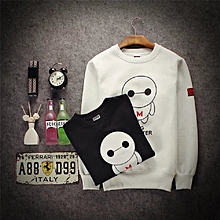Women's Cotton Long Sleeve Casual Sweatshirts Pullover-White
