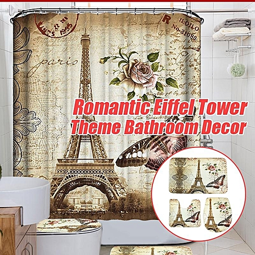 Generic 180x200cm Paris Bathroom Shower Curtain Eiffel Tower Waterproof Fabric Hooks