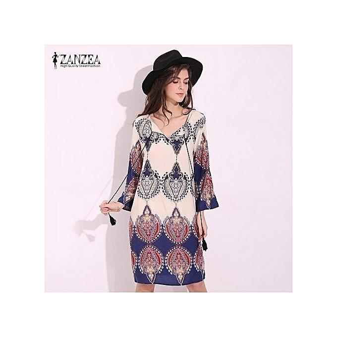 ZANZEA ZANZEA Women Plus Size S-5XL Retro Floral Printed V Neck Casual Loose  3  4 Sleeve Vintage Holiday Beach Party Mini Dress Vestido (Floral) 1ac9b8fadfc4